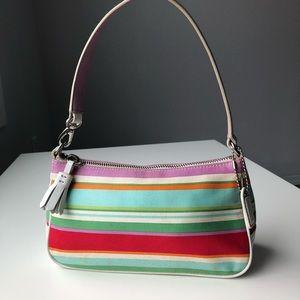 Coach colorful white leather canvas mini bag purse